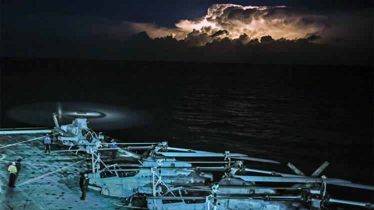 USS San Diego Conducts Night Flight Ops